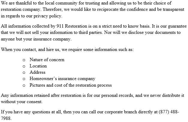 911_Restoration_Washington_DC_Privacy_Policy
